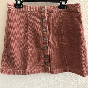 Forever 21 Button Up Suede Mini Skirt Mauve